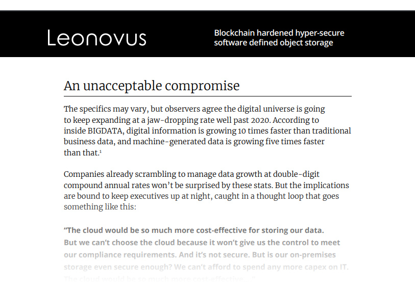 Whitepaper - Solving the enterprise data storage problem